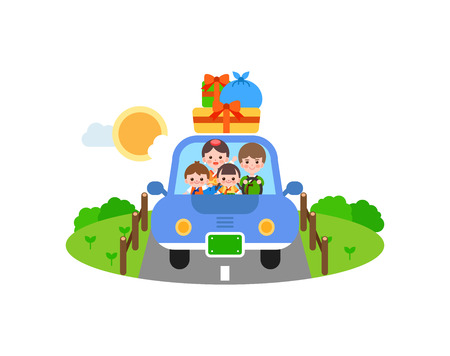 Family in Korea tradition clothing going to hometown, vector illustration.