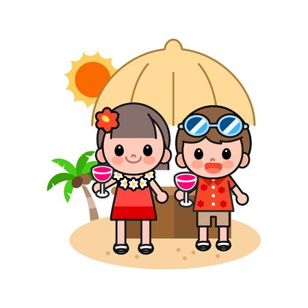 Children drinking cocktail on beach, vector illustration.