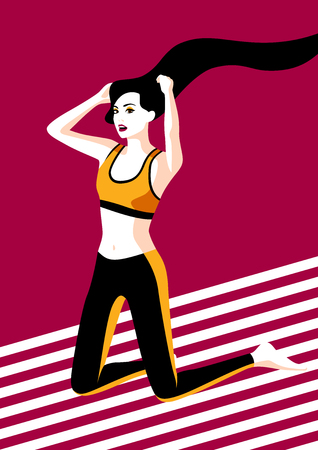 Woman doing stretching, vector illustration.