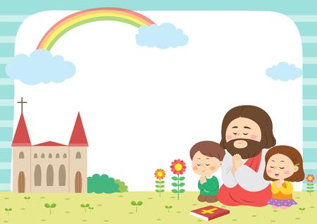 Kinderen die bijbelkamp, ??vectorillustratie bijwonen.