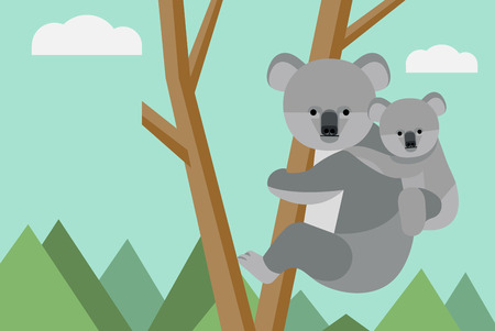Koala climbing on the tree Ilustrace