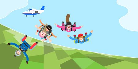 People enjoying sky diving, vector illustration.