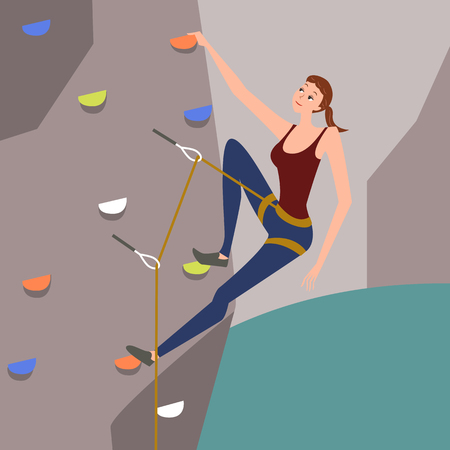 Woman practicing rock climbing, vector illustration.