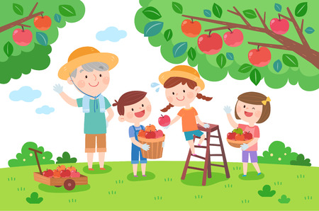 Large family picking an apple, vector illustration.