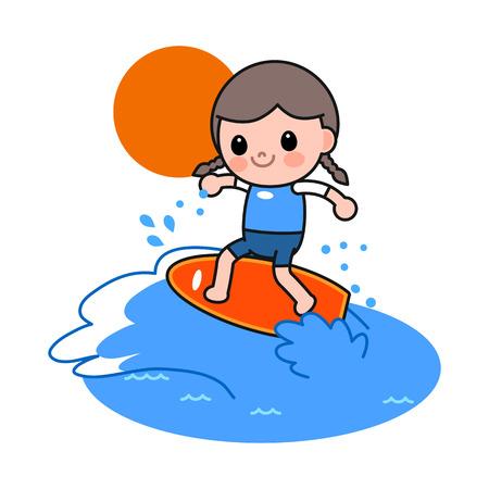 Girl enjoying surfing, vector illustration. Illustration
