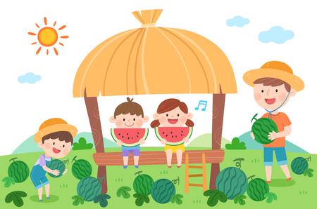 Happy family eating watermelon, vector illustration.  イラスト・ベクター素材