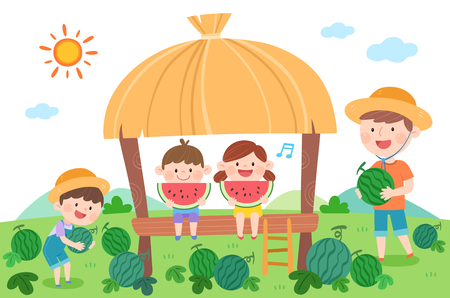 Happy family eating watermelon, vector illustration. Ilustração