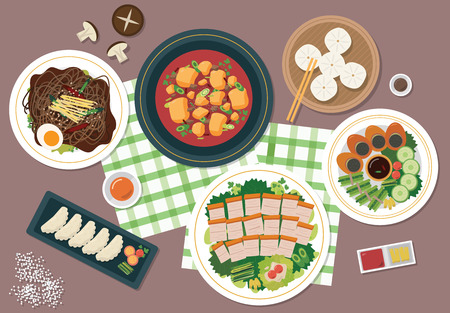 Top view of Korea restaurant table, vector illustration.