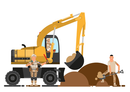Soldier helping construction industry, vector illustration.