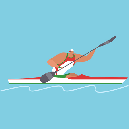 Athlete riding boat Stock Vector - 90759376