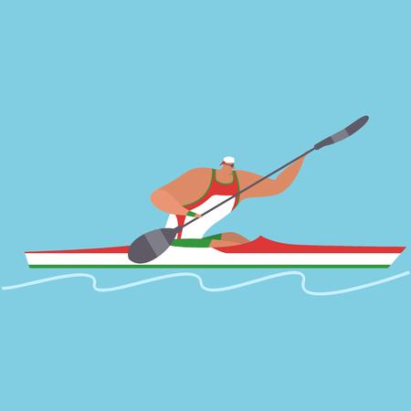 Athlete riding boat