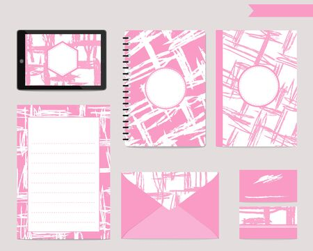 Set of scratch pattern letter paper, note template design.