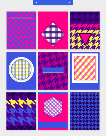 Set of various houndstooth patterns template design.