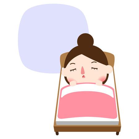 Beautiful woman sleeping on bedroom, vector illustration. Illustration