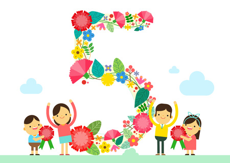 May, the family celebration day, vector illustration.