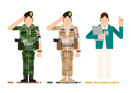 Soldier and nurse giving a salute, vector illustration.