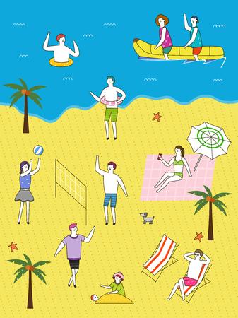 People enjoying at beach, vector illustration. Illustration
