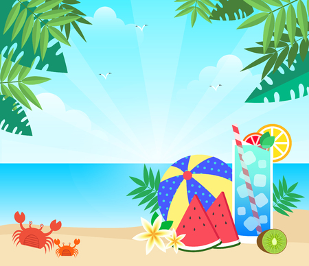 Watermelon on beach with summer sun light, vector illustration.