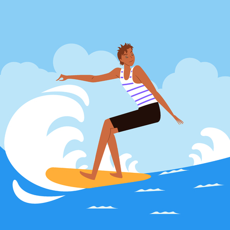 Man enjoying surfing, vector illustration.