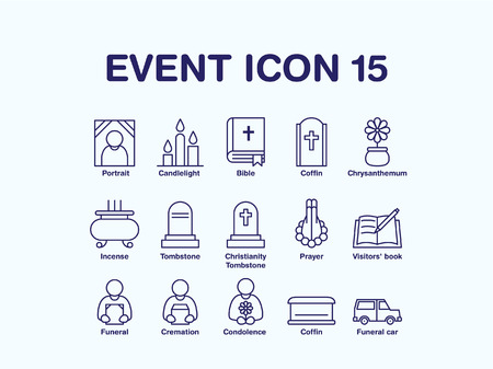 Set of various funeral icon Illustration