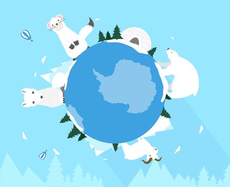 North pole animals on globe, vector illustration.