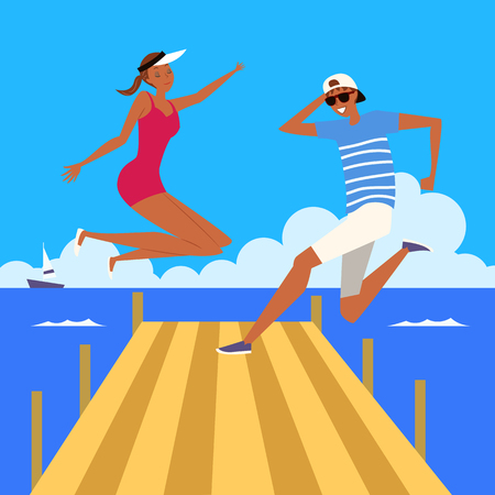 Couple jumping at pool, vector illustration.