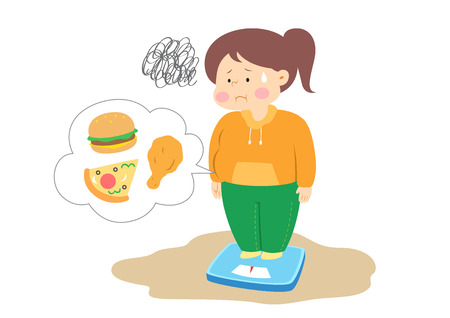 Overweight woman measuring weight, vector illustration.