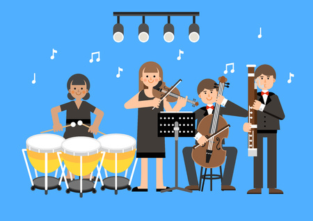 Musical group performing on blue background, vector illustration.