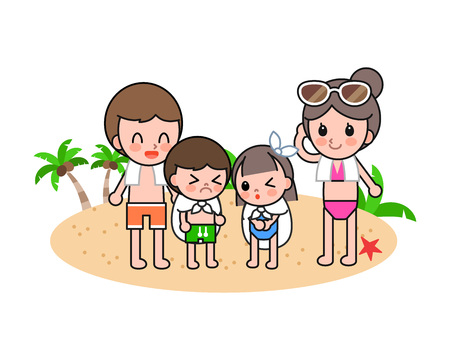 Happy family enjoying at beach, vector illustration. Illustration