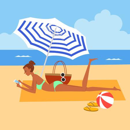 Woman enjoying at beach, vector illustration. Illustration