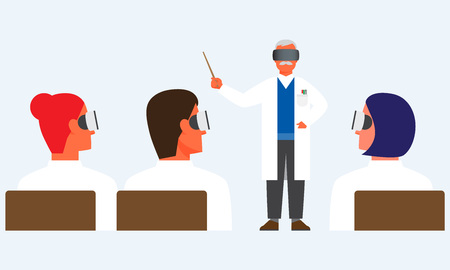Doctors having virtual reality meeting