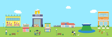 City building horizontal with people, vector illustration.