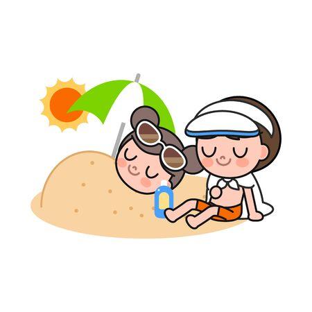 Children enjoying at beach, vector illustration. Illusztráció