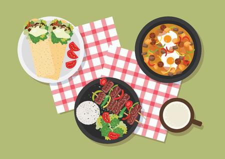 Top view of Turkey restaurant table, vector illustration.