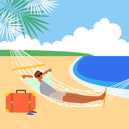 Man enjoying at beach, vector illustration. Illustration