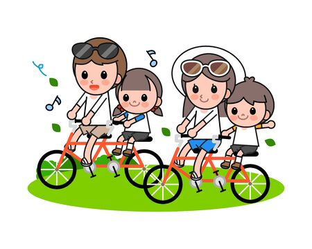 Happy family riding bicycle, vector illustration.