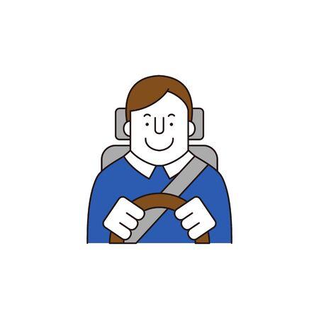 Man driving car, vector illustration.