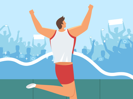 Athlete running at final line on people silhouette, vector illustration. Illustration