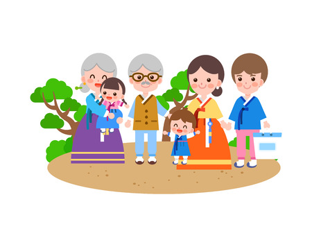 Large family in Korea tradition clothing, vector illustration.