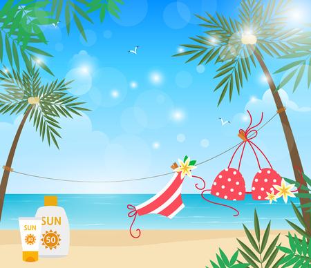 Swimwear on beach with summer sun light, vector illustration.