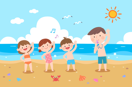 Happy family doing stretching on beach, vector illustration.