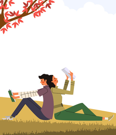 Couple reading book on grass, vector illustration.