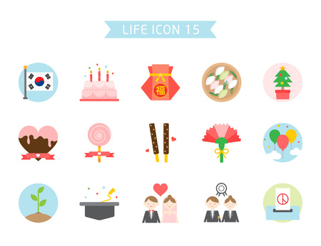 Korea holiday icon set, vector illustration.