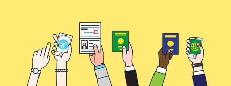 Mensen Hand met paspoort Stock Illustratie