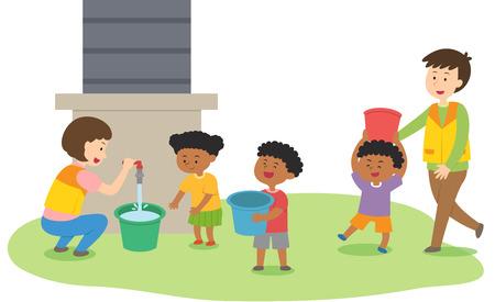 People doing volunteer work in Africa, vector illustration.