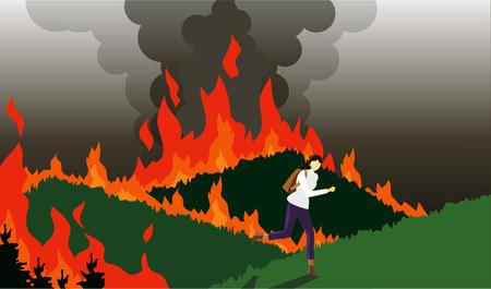 Woman avoiding from forest fire Illusztráció