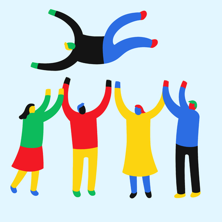 Global people tossing shoulder-high