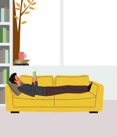 Man reading book on sofa bed, vector illustration.