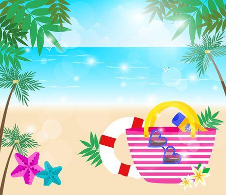 Vacation item on beach with summer sun light, vector illustration.