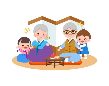 Large family in Korea tradition clothing eating fruit, vector illustration.
